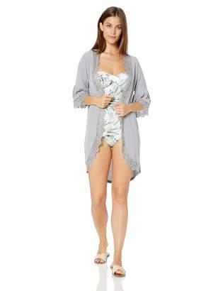 Forsix Women's Ruffle Bell Sleeve High Low Kimono Cardigan Cover up Grey S