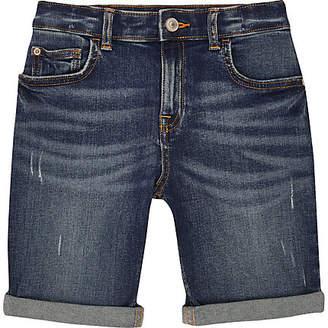 River Island Boys mid blue Dylan denim shorts