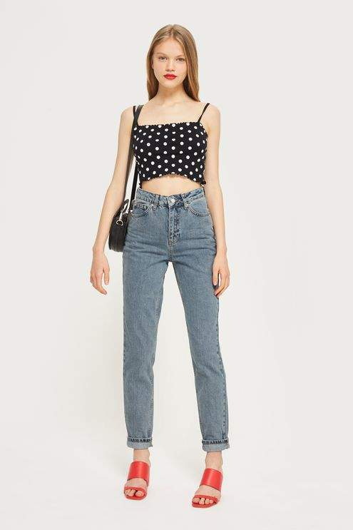 Topshop Moto grey blue mom jeans