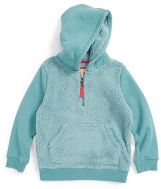 Toddler Girl's Mini Boden Teddy Quarter Zip Hoodie $44.50 thestylecure.com
