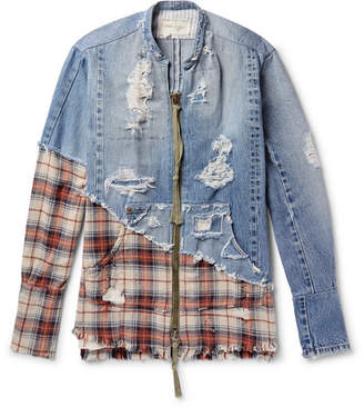Greg Lauren Grandad-Collar Panelled Distressed Denim And Checked Cotton-Twill Shirt