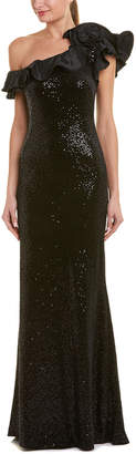 Teri Jon By Rickie Freeman Cap Sleeve One Shoulder Gown