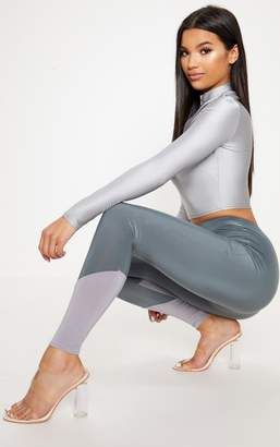 PrettyLittleThing Charcoal Slinky Contrast Hem Panel Legging