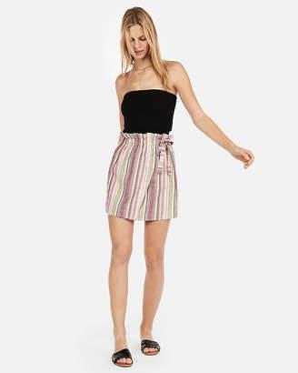 Express Super High Waisted Stripe Side Tie Mini Skirt