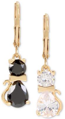 Betsey Johnson Gold-Tone Crystal Cat Mismatch Drop Earrings