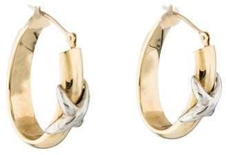 14K Oval X Hoop Earrings