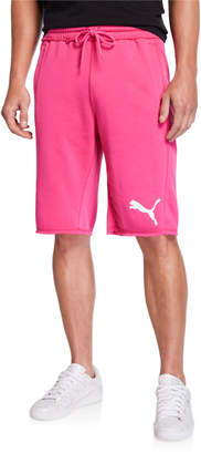 Puma Men's 12 Sweat Raw Edge Bermuda Shorts Fuchsia