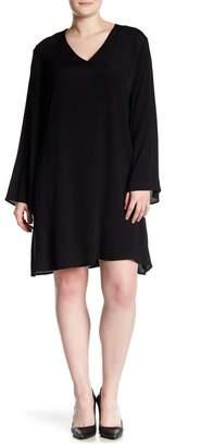 Glamorous Long Sleeve V-Neck Dress (Plus Size)