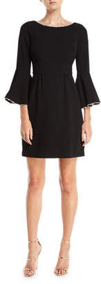 Trina Turk Bromely Crepe Full Bell-Sleeve Dress w/ Crystal Detail