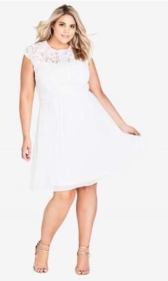City Chic Lace Bodice Dress - ivory