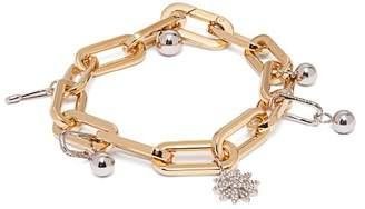 Burberry Crystal Charm Gold And Palladium Plated Bracelet - Womens - Gold