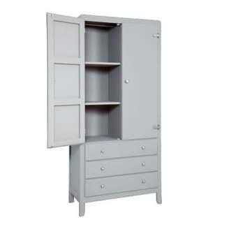 Laurette 3 Shelf Wardrobe - Light Grey