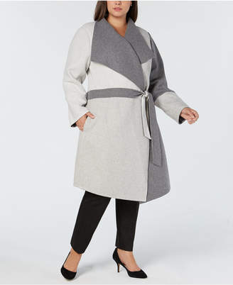 Alfani Plus Size Draped Colorblocked Coat