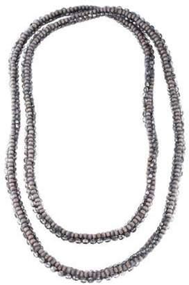 Brunello Cucinelli Wood & Crystal Long Beaded Necklace Wood & Crystal Long Beaded Necklace