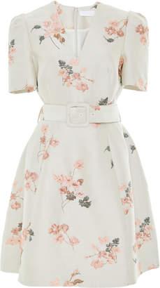 Co Belted Floral Jacquard Mini Dress