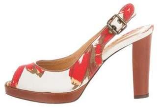 Bettye Muller Canvas Slingback Sandals