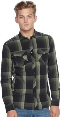 Rock & Republic Big & Tall Classic-Fit Plaid Stretch Roll-Tab Button-Down Shirt