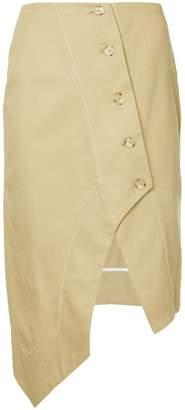 Bassike asymmetric button skirt