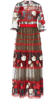 Costarellos Mesh Bodice Embroidered Tulle Dress