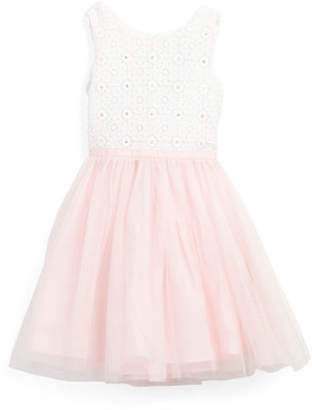 Girls Crochet Bodice Dress With Mesh Skirt