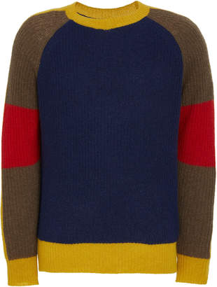 Tempus Now Colorblocked Cashmere-Wool Fisherman Sweater