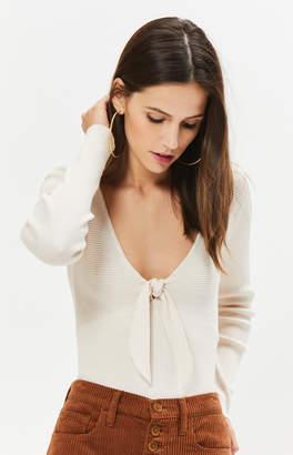La Hearts Tie Front Sweater Top