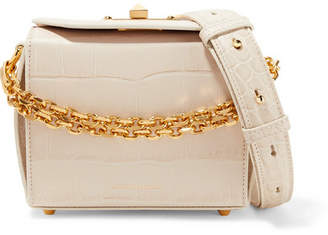 Alexander McQueen Box Bag 16 Croc-effect Leather Shoulder Bag - Ivory