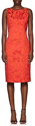 Zac Posen WOMEN'S FLORAL-JACQUARD SHEATH DRESS - ORANGE SIZE 8