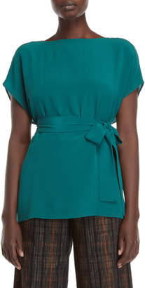 Roberto Collina Belted Boxy Silk Top