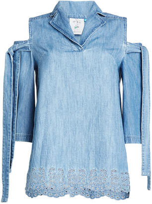 Sjyp Denim Top with Cut-Out Shoulders