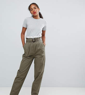 Asos Tall DESIGN Tall peg trousers with lace paperbag waist