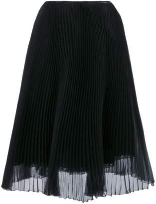 Prada Black Silk Pleated Skirt