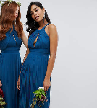 TFNC pleated bridesmaids midi dress in petrol blue