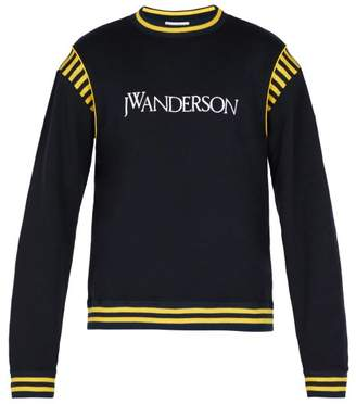 J.W.Anderson Logo Embroidered Cotton Jersey Sweater - Mens - Navy