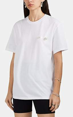 BLINDNESS Women's Imitation-Pearl-Detailed Cotton Oversized T-Shirt - White