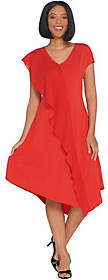 Halston H by Petite Jet Set Jersey Mixed MediaMidi Dress