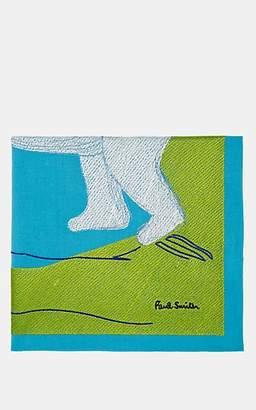 Paul Smith Men's Polar Bear-Motif Cotton Pocket Square - Lt. Blue