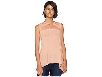 BCBGMAXAZRIA Sleeveless Top with Tulle Insert Women's Clothing