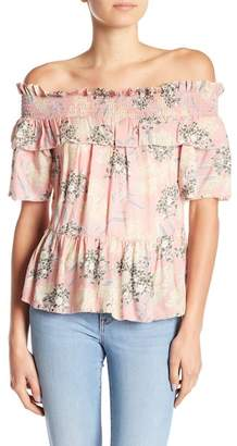 William Rast Arabella Smocked Off-the-Shoulder Top