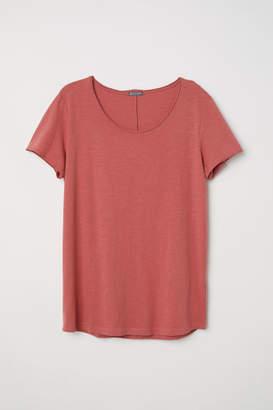 H&M Raw-edge T-shirt - Red