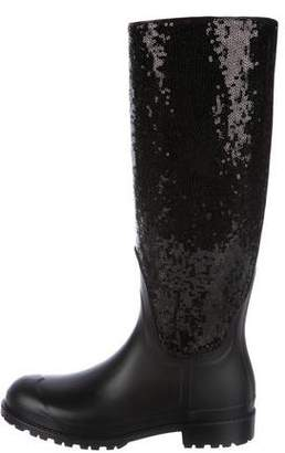 Saint Laurent Sequined Knee-High Rain Boots w/ Tags