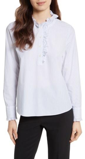 Women's Kate Spade New York Stripe Ruffle Neck Poplin Shirt