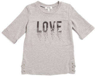 Big Girls Lace Up Side Sequin Love Top
