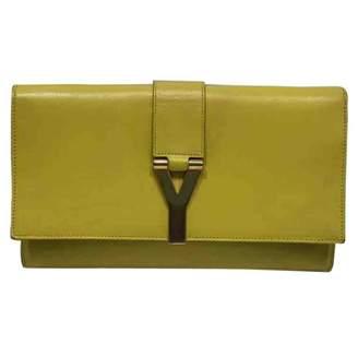 Saint Laurent Yellow Leather Clutch Bag