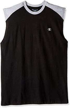 Champion Men's Big and Tall Cotton Jersey Muscle W/Contrast Shoulders Lc c