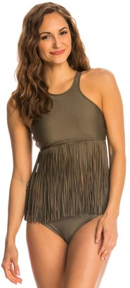 Luxe by Lisa Vogel Fringe Benefits High Crop High Neck Tankini Top 8143741 $118 thestylecure.com