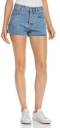 Current/Elliott The Ultra High-Waist Raw-Edge Denim Shorts in Prep