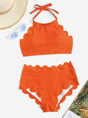 Shein Plus Scallop Trim Halter Top With High Waist Bikini