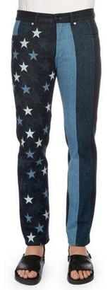 Givenchy Multi Stars & Stripes Printed Denim Jeans, Black $1,320 thestylecure.com