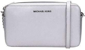 Michael Kors Ew Bag In Silver Leather